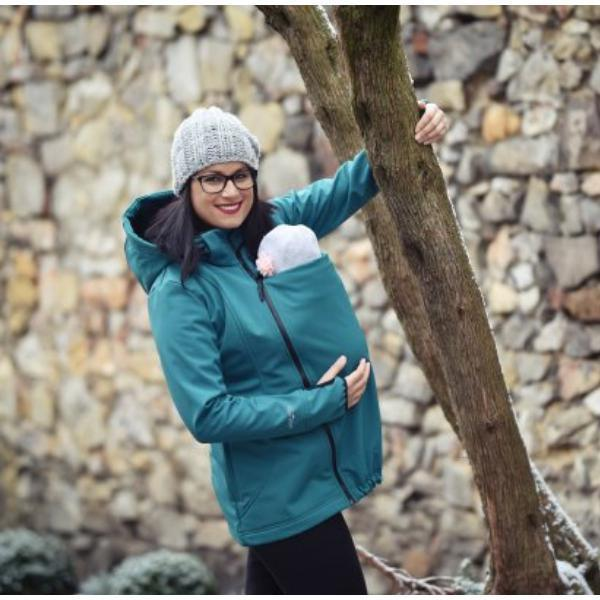Angel Wings Babywearing Softshell Jacket Bottle Green-Babywearing Outerwear-Angel Wings- Little Zen One US Babywearing baby carriers