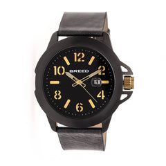 Breed Bryant Leather-Band Watch w/Date - Black/Gold