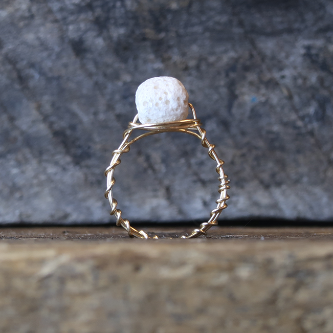 Rustic Aromatherapy Lava Stone Ring - White