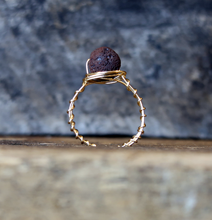 Rustic Aromatherapy Lavastone Ring - Brown