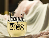 Class of 2018 Graduation Gift Personalized Wine Glass