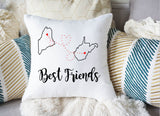 Best Friends Pillow Cover for Long Distance Relationship Gift