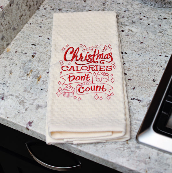 Christmas Calories Don't Count Embroidered Kitchen Towel