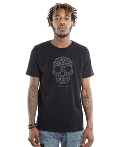 Cult of IndividualityMen's Skull Embroidered King Baby Crew Neck Black T ShirtXL