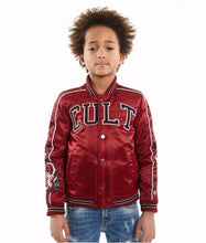 Load image into Gallery viewer, Cult of IndividualityKid's Cult Varsity Jacket in BurgundyXL