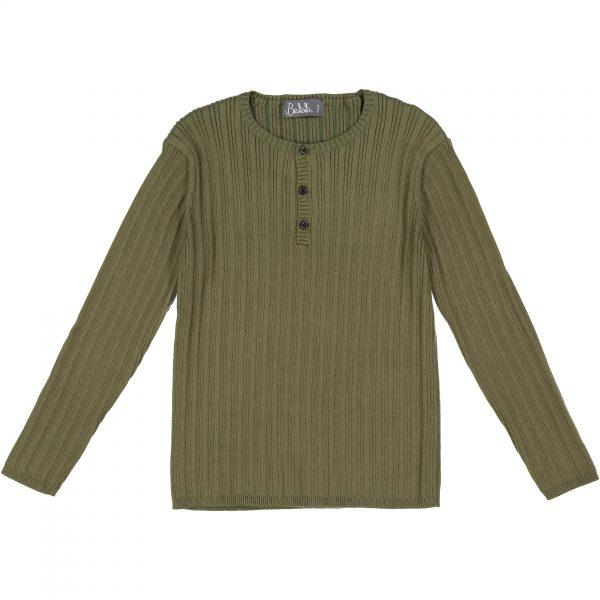 Belati Olive Solid Henley Ribbed Sweater
