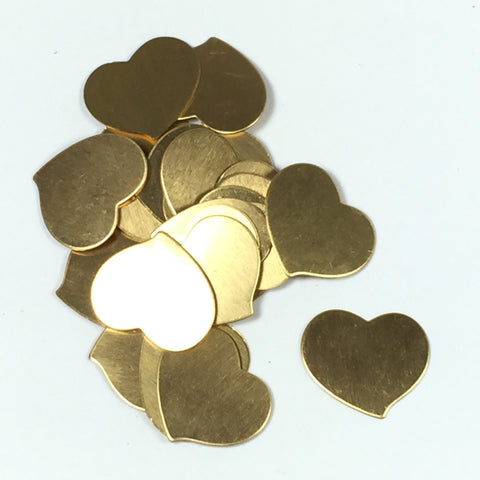gold hearts , brass hearts, 24 gauge, .75x .75 inch, heart blanks, 15 pack, cute heart, stamping blanks - Romazone