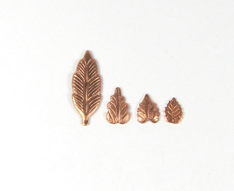 Heart leaf, in copper, USA made, 8mm x 5mm, 20 pack, has a slight curve - Romazone
