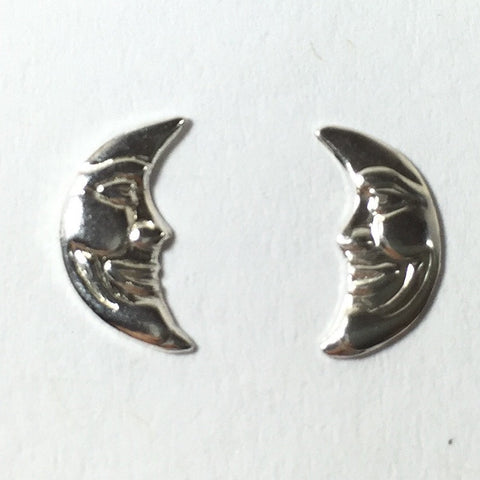 moon face charm, small  faces, right left crescents, silver Luna , 8 pairs, small 11 mm x 5 mm, 24 gauge Sterling - Romazone