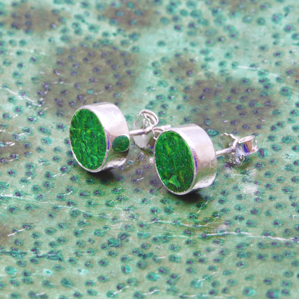 Earrings with green fish skin
