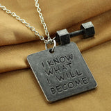 I KNOW WHAT I WILL BECOME - Necklace With Dumbbell - 9figures, Pendant Necklaces, Love life jewelry Store, 9figures