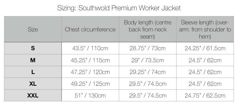 Southwold Premium Worker Jacket Sizing Chart