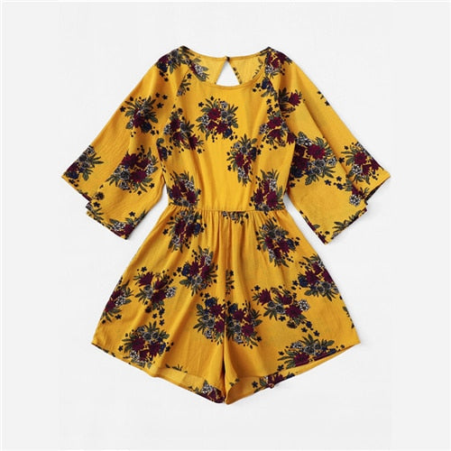 Mustard Cut Out Back Floral Print Romper