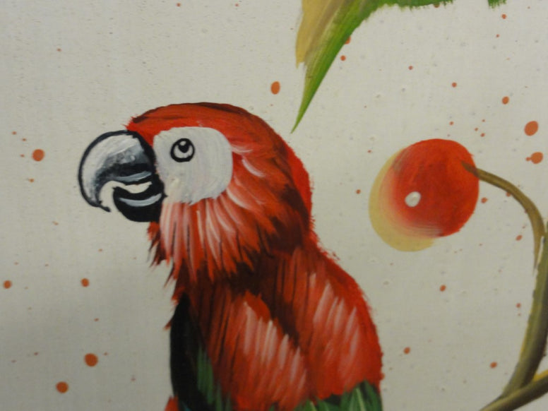 Hand Painted Parrot & Cherry Screen SALE