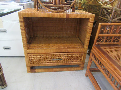 Woven Rattan Single Drawer Side Table SALE