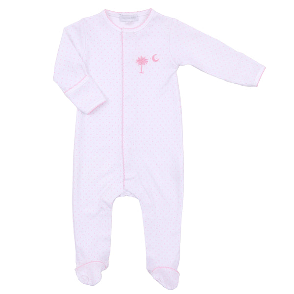 Essentials Pink Palmetto Baby Embroidered Footie