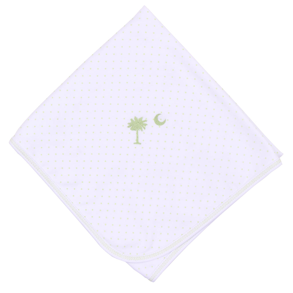 Essentials Celery Palmetto Baby Embroidered Receiving Blanket