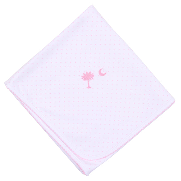Essentials Pink Palmetto Baby Embroidered Receiving Blanket
