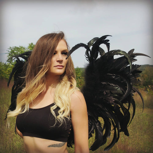 Black Feather Fairy Wings - burningbabeclothingco