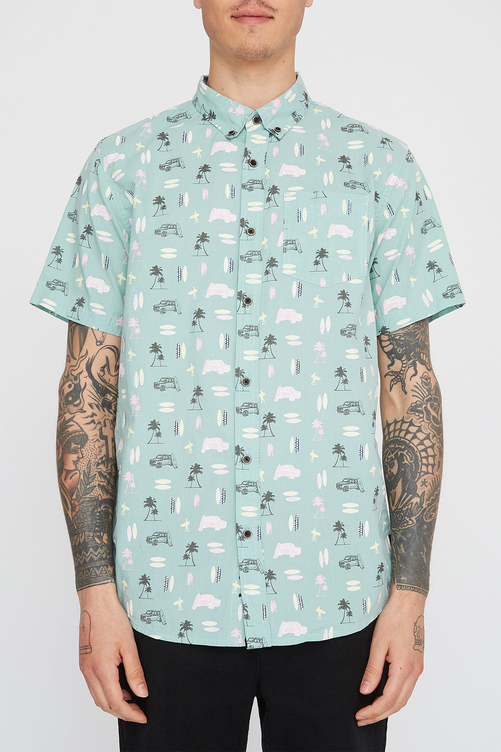 West49 Mens Turquoise Button Up Shirt