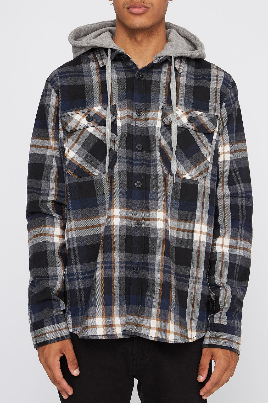 West49 Mens Hooded Flannel Plaid Shirt
