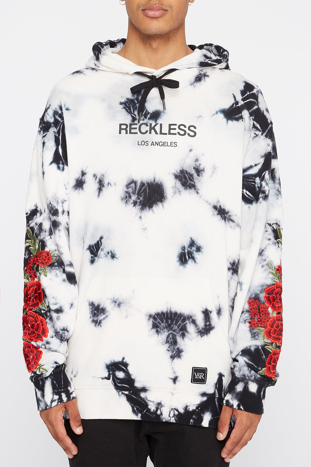 Young & Reckless Mens Tie-Dye and Roses Hoodie