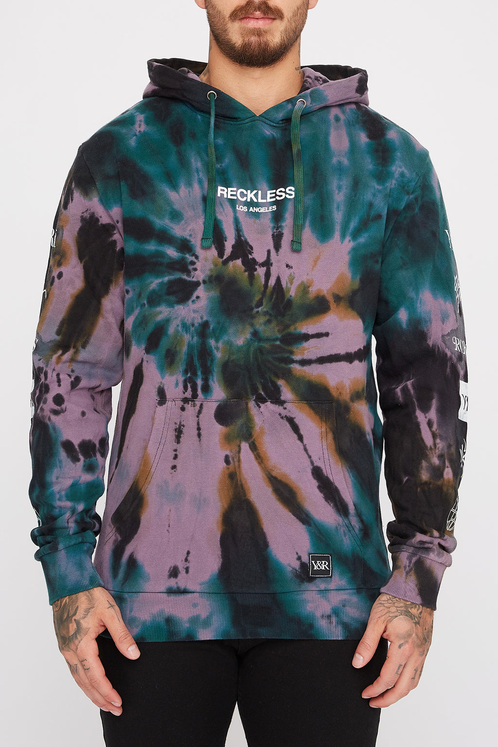 Young & Reckless Mens Tie Dye Logo Hoodie