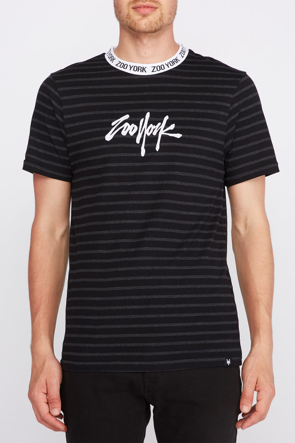 Zoo York Mens Striped Embroidered Logo T-Shirt