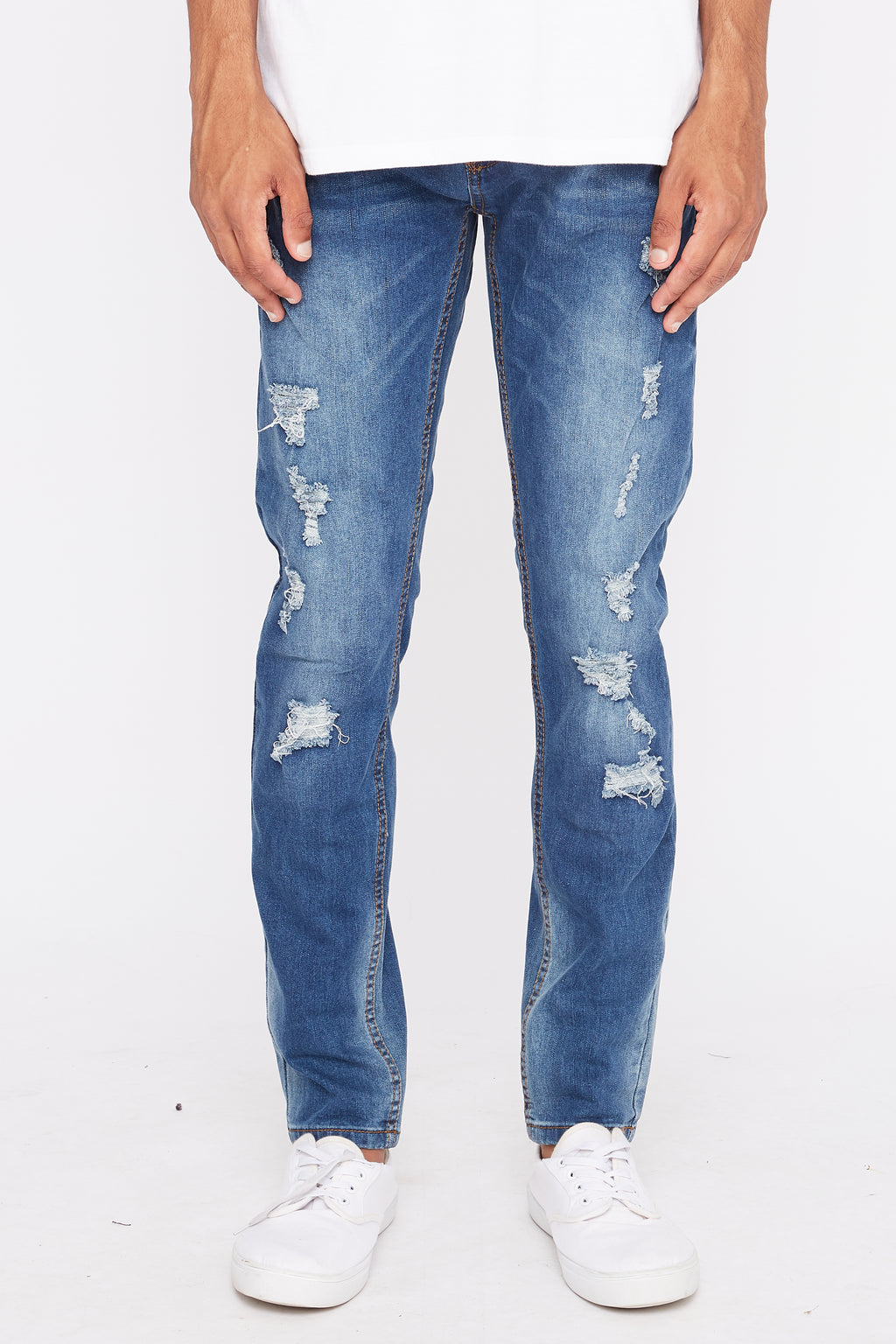 Zoo York Mens Medium Wash Distressed Skinny Jeans
