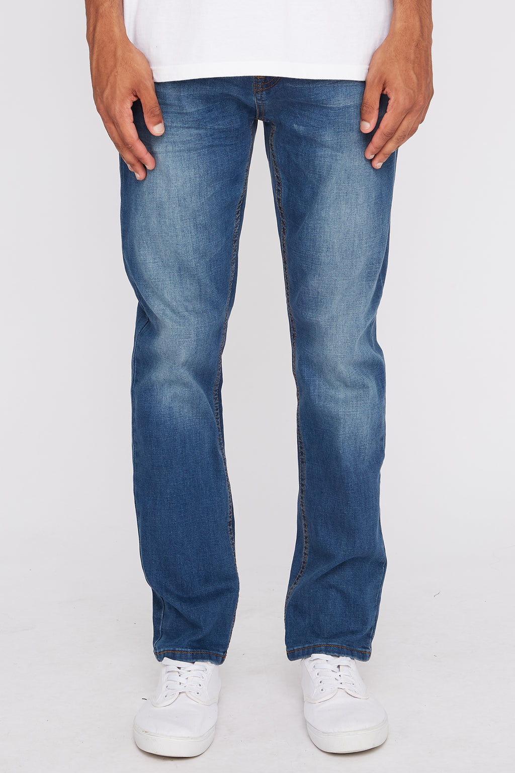West49 Mens Medium Wash Stretch Slim Jeans