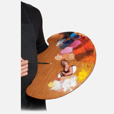 New Wave Handcrafted Maple Wood Grand View Confidant Ergonomic Hand Held Artist Paint Palette with oil paint being held