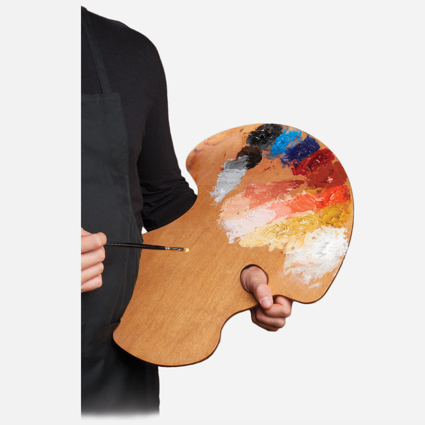 New Wave Handcrafted Maple Wood Expressionist Confidant Ergonomic Hand Held Artist Paint Palette