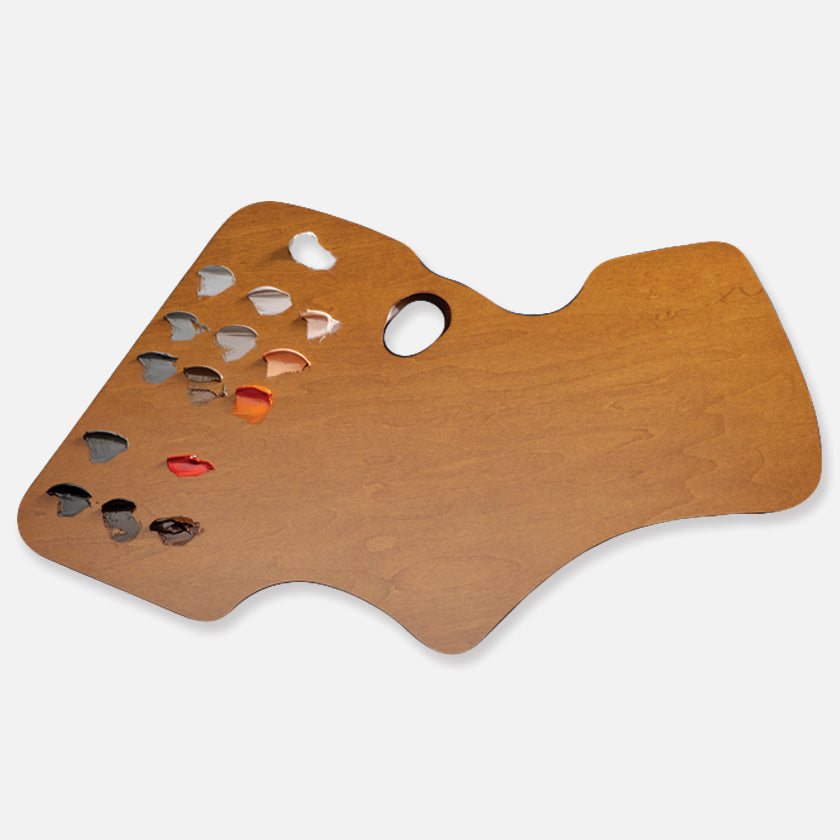 New Wave Handcrafted Maple Wood Academian Confidant Ergonomic Hand Held Artist Paint Palette