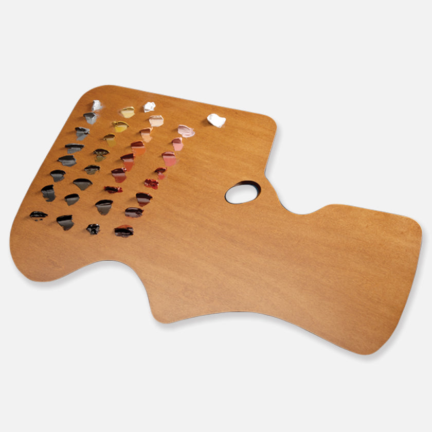 New Wave Handcrafted Maple Wood Academian Ergonomic Hand Held Artist Paint Palette