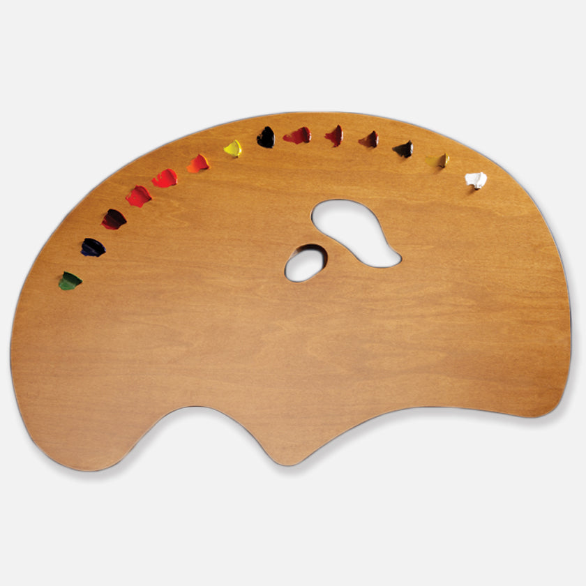 New Wave Handcrafted Maple Wood Grand View Ergonomic Hand Held Artist Paint Palette