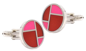 Funky Silver, Hot Pink and Red Round Enamel Mens Cuff links by CUFFLINKS DIRECT