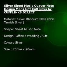 Silver Sheet Music Quaver Note Design Mens Gift Cuff links by CUFFLINKS DIRECT
