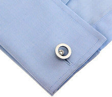 Modern Silver Circle Clear Crystal Mens Gift Office Cuff links by CUFFLINKS DIRECT