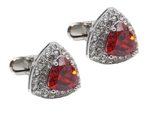 Triangle Cufflinks with ruby red swarovski crystal mens gift by CUFFLINKS DIRECT