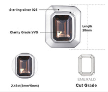 Emerald Cut Swarovski Crystal Gem Cufflinks set in Genuine Fine 925 Sterling Silver