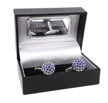 Sapphire Blue Swarovski Crystal ball Cufflinks Men wedding Gift CUFFLINKS DIRECT