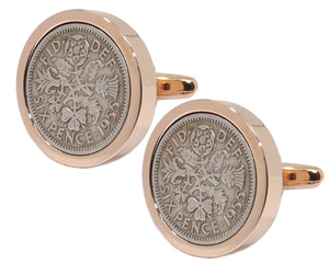 1955 Sixpence Coins Hand Set in a Rose Gold plate Setting Mens Gift Cuff Links by CUFFLINKS DIRECT