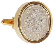 1958 Sixpence Coins Hand Set in a 9ct Gold plate Setting Mens Gift Cuff Links by CUFFLINKS DIRECT WE CHARGE IF YOU USE OUR PICS!