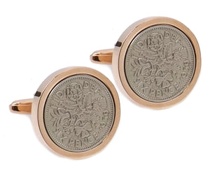1959 Sixpence in roseGold Plate Mens 60 60th Birthday Gift by CUFFLINKS DIRECT