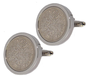 1964 Sixpence Coins Set in Silver Setting Mens Gift Cuff Links by CUFFLINKS DIRECT
