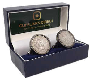1965 Sixpence Coins Hand Set in a Gun Metal plate Setting Mens Gift Cuff Links by CUFFLINKS DIRECT