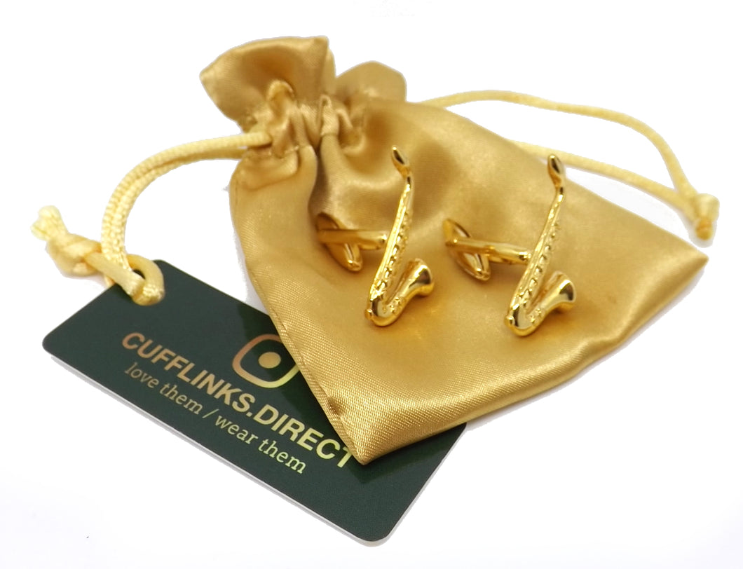 Gold Plated Saxophone Music Instrument Mens Gift Cuff links by CUFFLINKS DIRECT