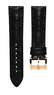 Leather strap with croco pattern - black - 22 mm - rosegold plated buckle