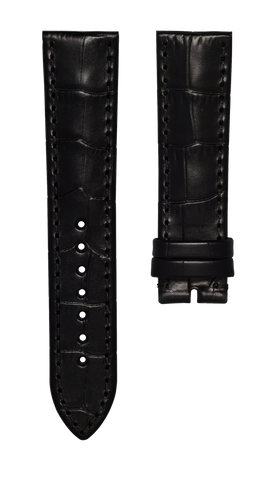 Leather strap with croco pattern - black - 22 mm - no buckle