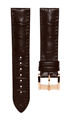 Leather strap with croco pattern - dark brown - 22 mm - rosegold plated buckle